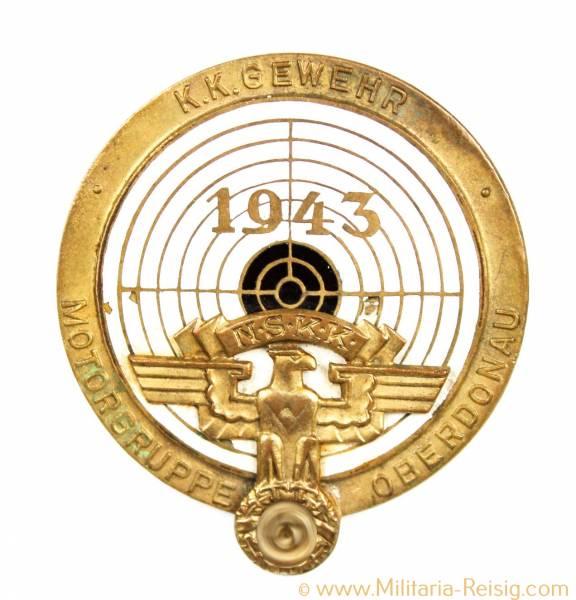 """NSKK Motorgruppe Oberdonau - Schießauszeichnung in Gold """"K.K. Gewehr"""" 1943"""