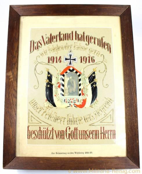 """Erinnerungsbild """"Zur Erinnerung an den Weltkrieg 1914-16"""""""