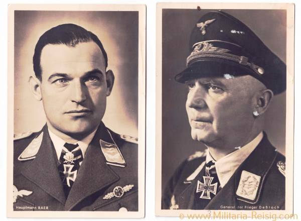 Portraitpostkarten von 2 Ritterkreuzträgern (General der Flieger O. Deßloch u. Hauptmann Baer)