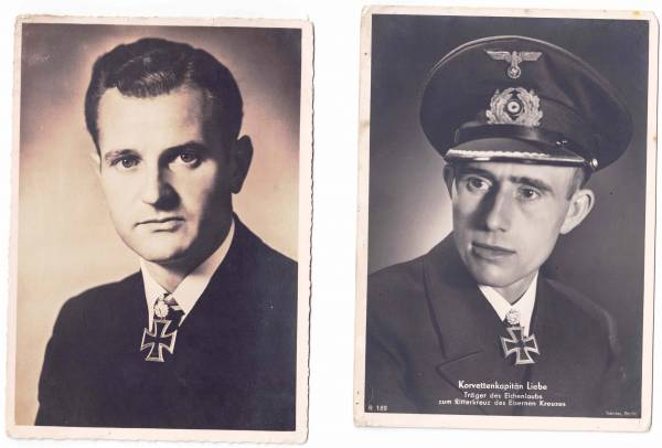 Portraitpostkarten von 2 Ritterkreuzträgern (H. Bleichrodt und H.Liebe) Kriegsmarine