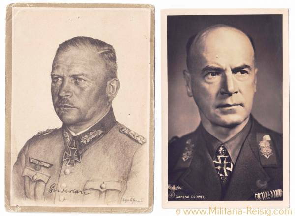 Portraitpostkarten v. 2 Ritterkreuzträgern (General L.Crüwell u. Generaloberst H. Guderian)