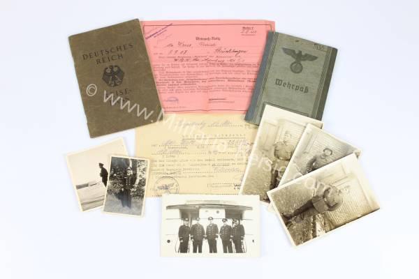 Dokumentennachlass mit Erkennungsmarke eines Kriegsmarine Offiziers, Wehrmacht