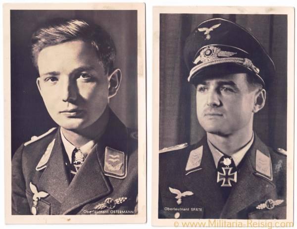 Portraitpostkarten v. 2 Ritterkreuzträgern (Oberleutnant Ostermann und W. Späte)