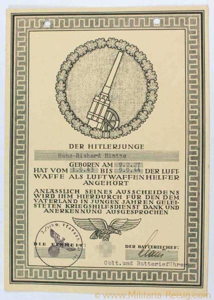 Anerkennungsurkunde für einen Hitlerjungen
