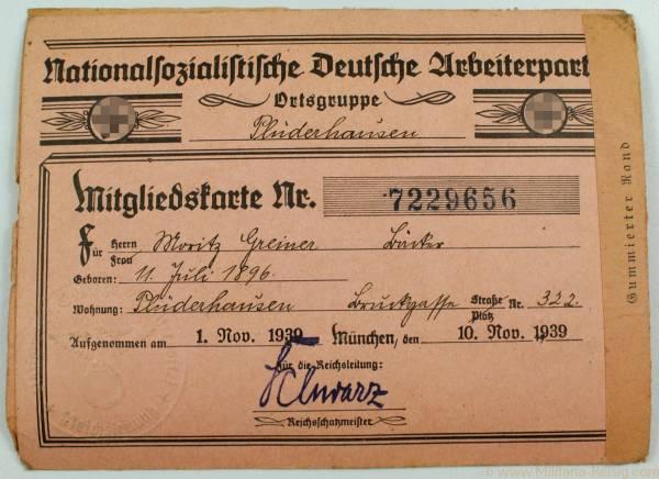NSDAP Mitgliedskarte, Ortsgruppe Plüderhausen