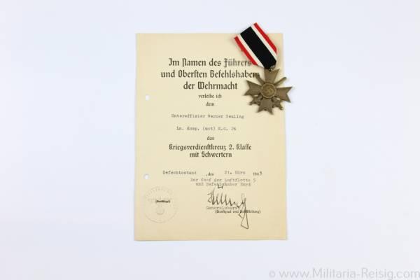 Kriegsverdienstkreuz mit Schwertern 2.Klasse 1939 mit Verleihungsurkunde