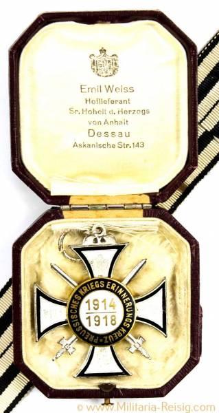 Preußisches Kriegserinnerungskreuz 1914-1918 für Kämpfer im Etui, selten!!
