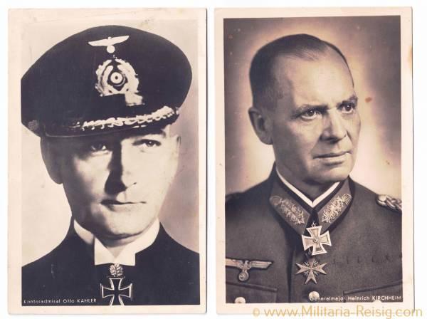 Portraitpostkarten v. 2 Ritterkreuzträgern (Generalmajor H. Kirchheim u. Konteradmiral O. Kähler)
