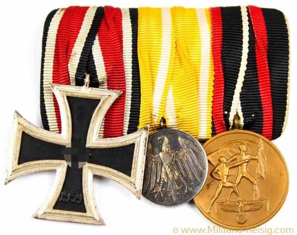 Ordensspange mit 3 Auszeichnungen (EK2 Schinkel, Rettungsmedaille 1933, ...)