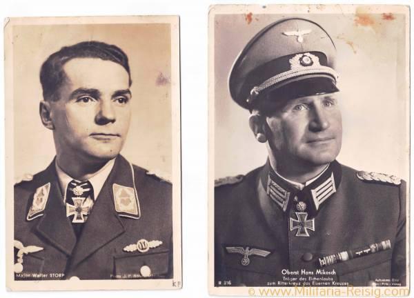 Portraitpostkarten von 2 Ritterkreuzträgern (Major W. Storp und Oberst H. Mikosch)