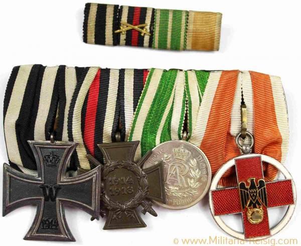 Ordensspange mit 4 Auszeichnungen, Kaiserreich, 1. Weltkrieg, 3. Reich