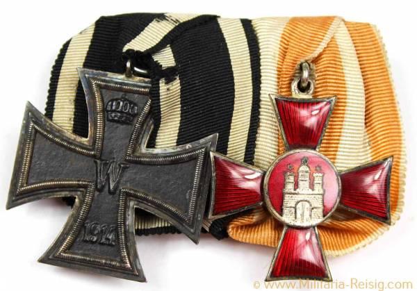 Ordensspange mit 2 Auszeichnungen, Kaiserreich, 1. Weltkrieg