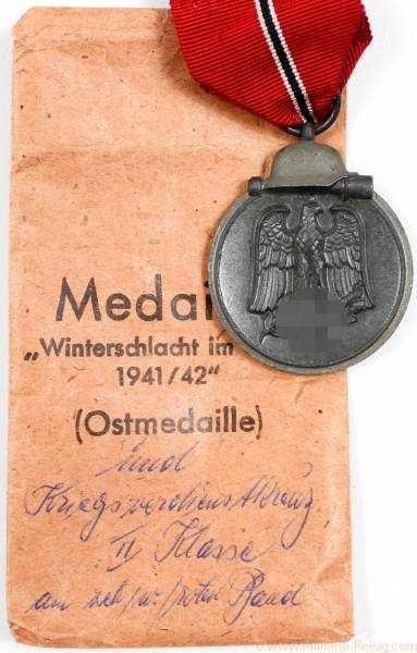 Ostmedaille mit Verleihungstüte, Herst. 55 (J.E. Hammer & Söhne, Geringswalde)