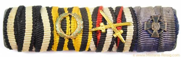 4er Feldspange, EK2, MVM, Frontkämpferkreuz, Treuedienst Ehrenzeichen