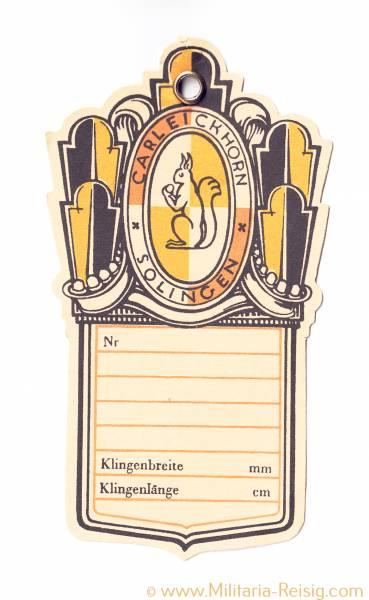 Herstelleretikett für Blankwaffen - Carl Eickhorn, Solingen