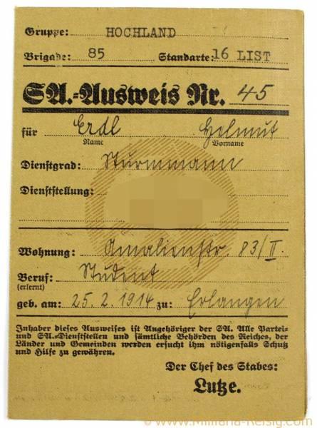 SA Ausweis für einen Angehörigen des Sturms 2/16L München, Hochland