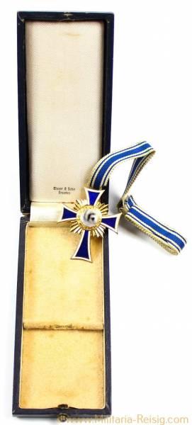 Ehrenkreuz der deutschen Mutter 1.Stufe Gold im Etui, Herst. Glaser & Sohn Dresden