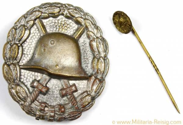 Verwundetenabzeichen in Silber 1918 und Miniatur