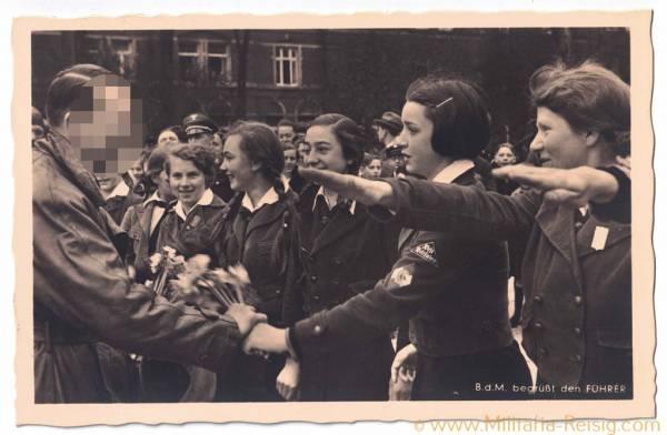 """Postkarte """"B. d. M. begrüßt den Führer"""", Adolf Hitler"""