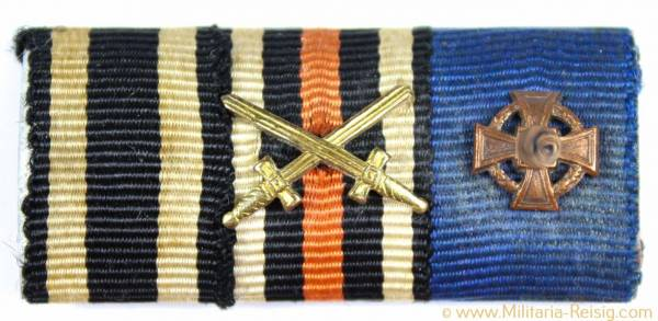 3er Feldspange - (Eisernes Kreuz 1914, Ehrenkreuz für Frontkämpfer, Treudienst-Ehrenzeichen)