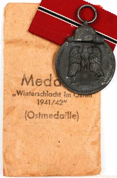 Ostmedaille mit Verleihungstüte, Herst. 60 (Katz & Deyhle Pforzheim)