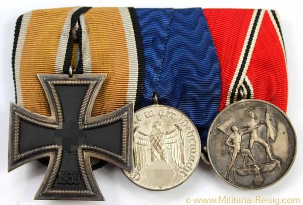 Ordensspange mit 3 Auszeichnungen, Eisernes Kreuz, Dienstauszeichnung 4.Klasse,...)