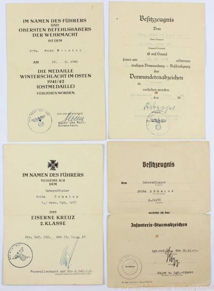 Urkundengruppe des Unteroffiziers Fritz Brosius