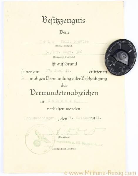 Verwundetenabzeichen in Schwarz 2. Form 1939 + Verleihungsurkunde
