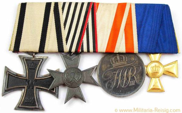 Ordensspange mit 4 Auszeichnungen, Kaiserreich, 1. Weltkrieg