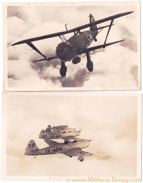 2 Ansichtskarten von Kampfflugzeuge (Hs 123 u. Klemm L35)