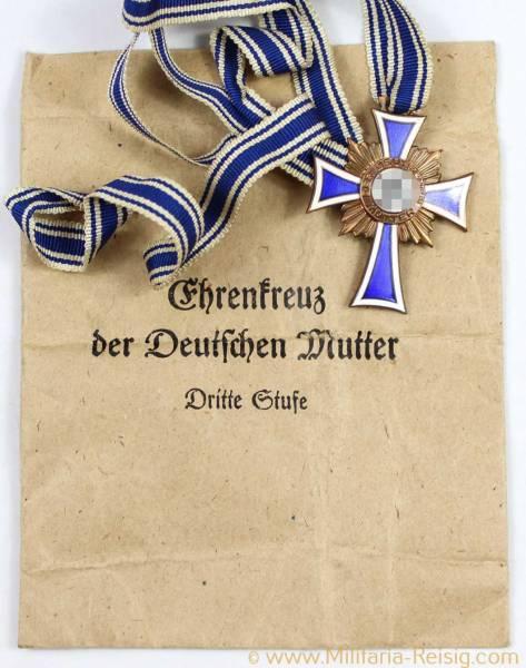 Ehrenkreuz der Deutschen Mutter 3.Stufe in Bronze + Verleihungstüte