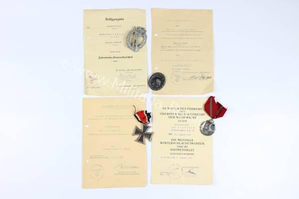 Ordennachlass - 4 Auszeichnungen eines Unteroffiziers der Wehrmacht
