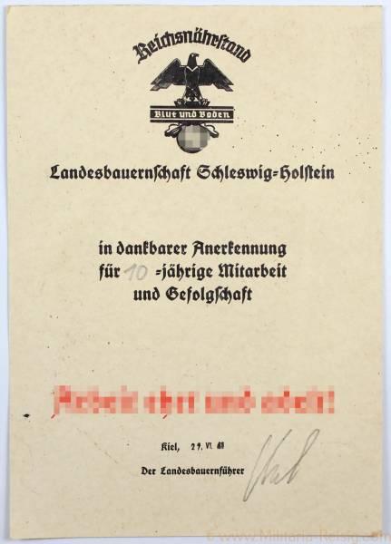 Anerkennungsurkunde für 10 jährige Mitarbeit, Reichsnäherstand
