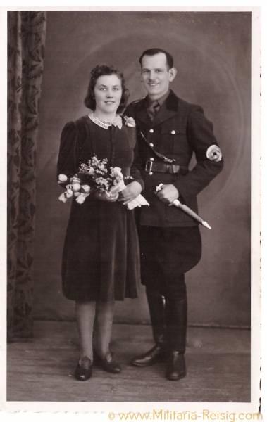 Foto Postkarte SA Mann und Frau, Verlobung, SA Dienstdolch
