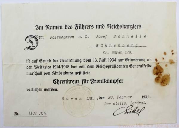 Verleihungsurkunde zum Ehrenkreuz für Frontkämpfer