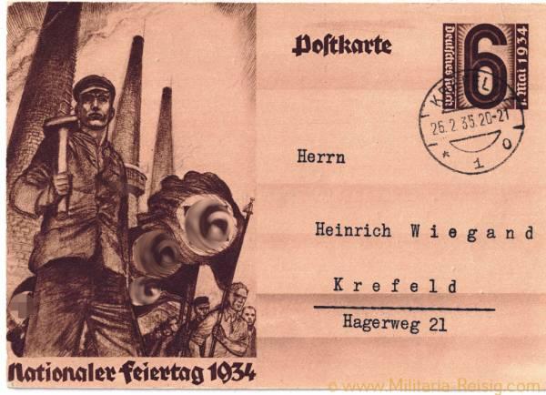 """Postkarte, """"Nationaler Feiertag 1934"""""""