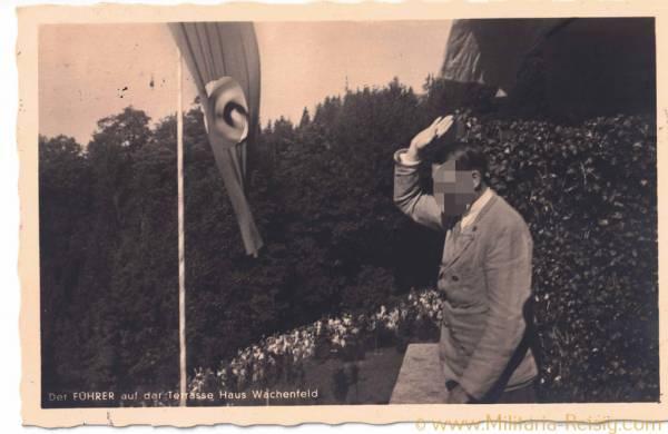 """Postkarte """"Der Führer auf der Terasse Haus Wachenfeld"""" mit schönen Stempel!"""