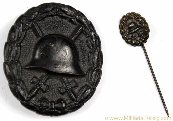 Verwundetenabzeichen in Schwarz 1918 und Miniatur