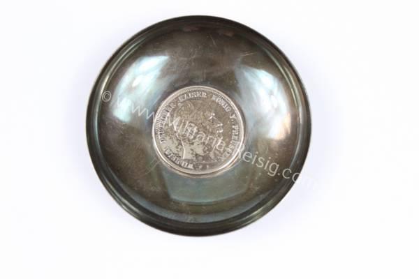 Gedenkschale mit Münze, 5 Mark Preussen 1876 A in Silber, Herst. Hemmerle München