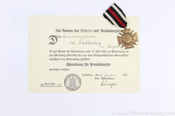 Ehrenkreuz für Frontkämpfer 1914-1918 mit Urkunde