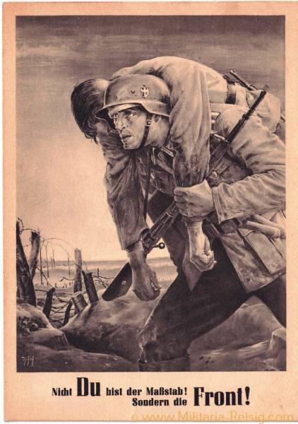 """Postkarte """"Nicht du bist der Maßstab! Sondern die Front!"""", 1943"""