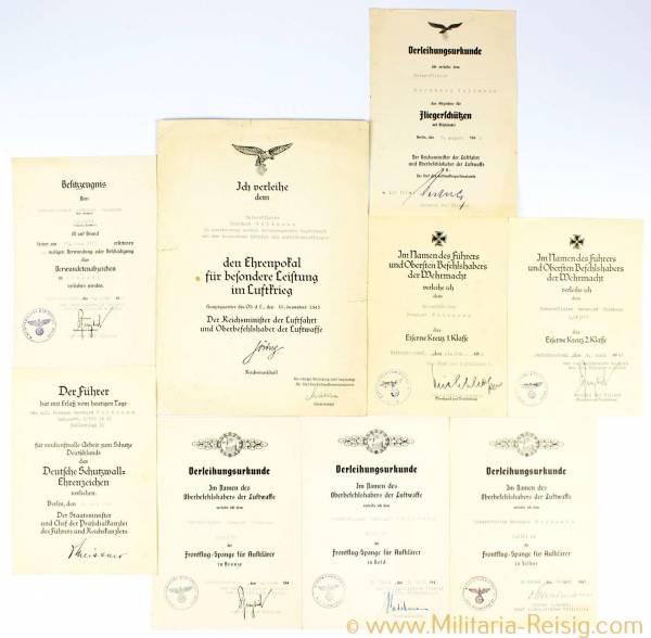 Urkundengruppe des Unteroffiziers Bernhard Volkmann, 2./(F) 11, Ehrenpokal der Luftwaffe