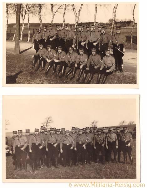 Foto Postkarten 2 Mannschaftsbilder einer SA Truppe 1935
