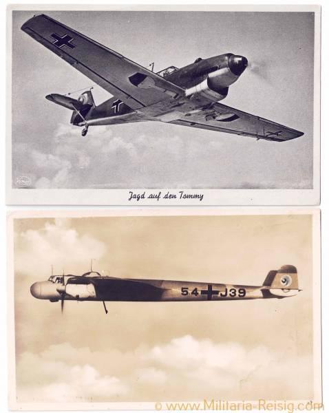 2 Ansichtskarten von Kampfflugzeuge (Dornier DO - 17 u. Messerschmitt Me 109)