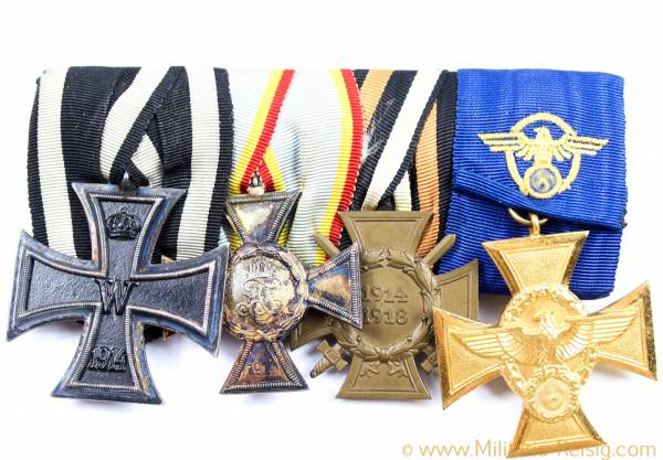 Ordensspange mit 4 Auszeichnungen, Polizei Dienstauszeichnung in Gold, ...
