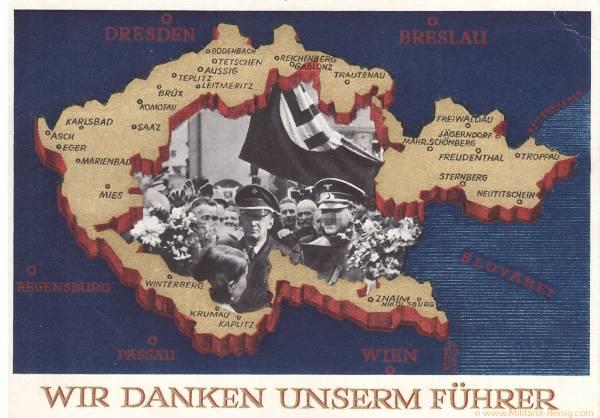"""Postkarte """"Wir Danken unserem Führer"""" 1938, 3. Reich"""