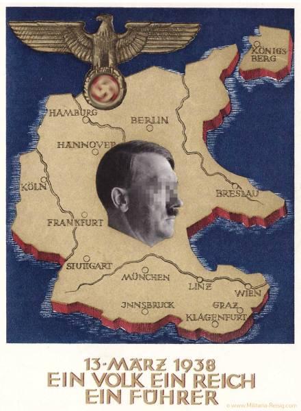 """Postkarte zum """"Anschluss"""" Österreichs München, 1938, Adolf Hitler, Ein Volk, ein Reich, ein Führer"""