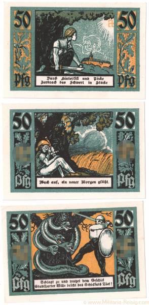 Satz Schutz- und Trutzbund, Ortsgruppe Rudolstadt 50 Pfennig Notgeld