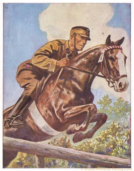 Postkarte Deutscher, erwirbt das SA Sportabzeichen, SA Reiter überspringt ein Hindernis, 3. Reich