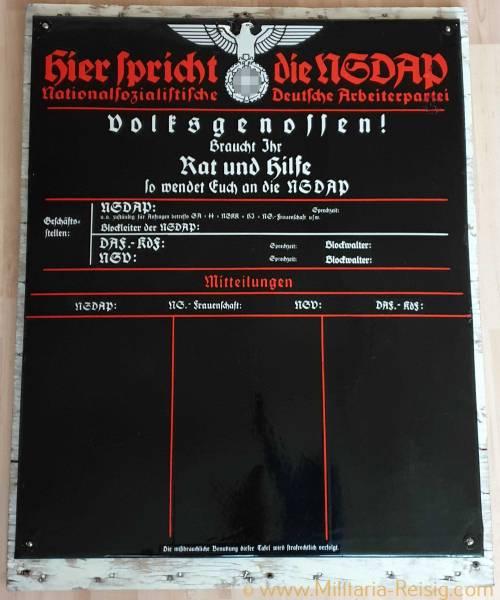 """Emailleschild """"Hier spricht die NSDAP"""", 3. Reich"""